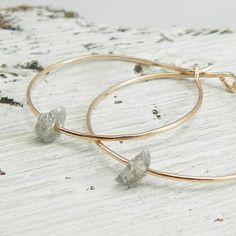 Rose Gold Rough Diamond Earrings, 14k Rose Gold Fill Hoop Earrings, 14k Gold, Raw Diamond, Conflict Free Diamond, Uncut Diamond Earrings on Etsy, $85.00
