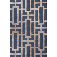 City Blue and Tan Rectangular: 5 Ft. x 8 Ft. Rug