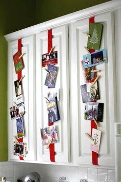 Creative Christmas Card Display Ideas on Cabinet