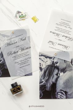 Contemporary Wedding Invitations with Photos and vellum paper make a more attractive and modern design. Affordable Wedding Invitations, Elegant Wedding Invitations, Vellum Paper, Unique Weddings, Wedding Designs, Big Day, Reception, Cards Against Humanity, Modern Design