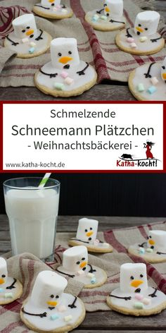 Weihnachtsgebäck – schmelzende Schneemann Plätzchen Another super sweet recipe for the Christmas bakery: these melting snowman cookies are made very simple and the cute decoration [. Schneemann Cookies, Cookies Fondant, Oreo Cupcakes, Biscuits Fondants, Melted Snowman Cookies, Cookie Recipes, Dessert Recipes, Christmas Cookies, Sweet Recipes