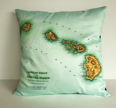 Vintage map cushion  pillow eco friendly by mybeardedpigeon, $55.00...I WANT. One of the few cool places I've been.  Or there's an Italy one I would also loooveee...decisions decisions...