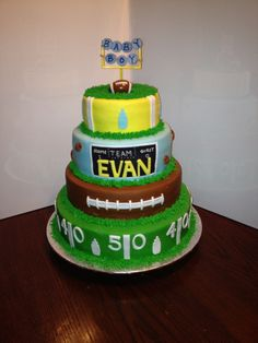 Football Themed Baby Shower Cake  Chocolate Cake With Buttercream Frosting  Covered In Marshmallow Fondant