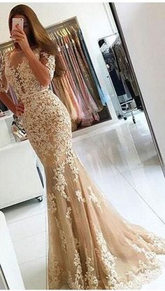 Prom Dress,Prom Dresses,Prom Gown,Sexy Mermaid Appliques Lace Prom Dresses,Elegant Backless Evening Dress,New Formal Women Dress,half sleeve dress