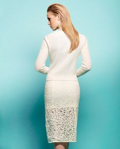 Nicholas Lace Pencil Skirt. This is pretty. Pair this with gold stilettos and accessories for swanky night out; or light pink for a tea, brunch; or wedding.