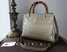 707c7de7f39b Gucci Bamboo Small Tote in Champagne Metallic Calfskin with Pale Gold  Hardware - SOLD