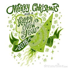 Merry Christmas And Happy New Year 2015 Greeting Card With Handlettering Typography Stock Vector - Image: 44900339