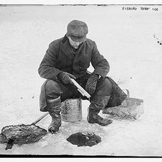 Here fishy, fishy!  Photo courtesy of Library of Congress.  #Library #ancestry #genealogy #familyhistory #familytree #icefishing #fishing #bwphotography #bwphoto #outdoors #winter