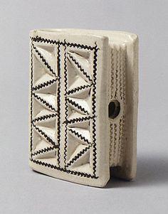 Book flask, ca. 1740-50, British, Staffordshire, salt-glazed stoneware