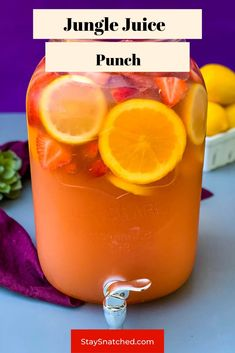 Easy Jungle Juice Recipe is the best punch drink for a party crowd. The ingredients include alcohol like rum and vodka and then a mix of fresh fruit and juice. You can easily make this cocktail on a budget! Simple Jungle Juice Recipe, Easy Jungle Juice, Fruit Punch Jungle Juice Recipe, Non Alcoholic Jungle Juice Recipe, Jungle Juice Alcohol, Jungle Juice Recipes, Tipsy Bartender Jungle Juice, Fruity Alcohol Drinks, Alcohol Drink Recipes