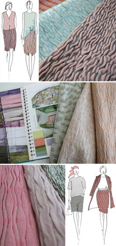 Fashion Sketchbook - textiles for fashion, sketches & woven fabric design development with textured surfaces; Fashion Sketchbook, Fashion Sketches, Sketchbook Ideas, Fashion Collage, Fashion Art, Fashion Design, Fashion Portfolio, Portfolio Design, Textile Design