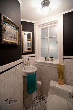 I just like the subway tile and black & white hex mosaic tile. http://www.apartmenttherapy.com/ny/color-cure/before-after-a-bathroom-makeover-for-the-ages-the-color-cure-154409