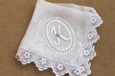 Something Blue Bride Wedding Hanky, Bridal Shower Gifts - Silk Bridal Handkerchief with Embroidery Lace, Swarovski Crystals & Lace Monogram. $50.00, via Etsy.