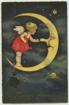 Vintage Illustrations Moon and his angel Vintage Moon, Vintage Cards, Vintage Postcards, Vintage Images, French Vintage, Sun Moon Stars, Sun And Stars, Images Victoriennes, New Year Postcard