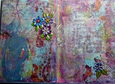 The backgrounds are gelli plate prints done on deli wrap, using many Stencil Girl stencils. If you look closely enough, you'll see stamps from Tim Holtz, Wendy Vecchi, Dina Wakely, Graphic 45, Claudine Hellmuth, and Stampin' Up.
