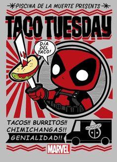 Día del tacos (Deadpool) Deadpool Tacos, Deadpool Art, Deadpool T Shirt, Funko Pop Display, Alternative Movie Posters, Skull And Bones, Psychedelic Art, Marvel Avengers, Comic Art