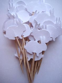 24 White Bunny Party Picks - Cupcake Toppers - Toothpicks - Food Picks - FP161    These picks are double sided and look great from the back or