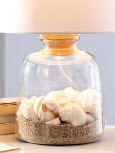 DIY Bottle Lamp- would be perfect for my seaglass collection