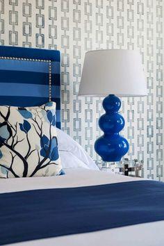 cobalt blue & white bedroom design   Philip Jeffries chain link wallpaper