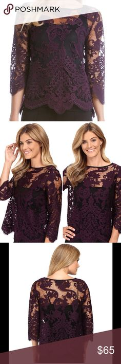 """Kane Embroidered Bracelet Sleeve Top Embroidered lace fabrication. Boat neckline. 3/4 bracelet sleeves. Pullover construction. Unlined. Approx. 24.5"""" length. Nylon. Hand wash. Made in the USA of imported fabrics. Color: eggplant. Reasonable offers welcome. No trades. Karen Kane Tops Blouses"""