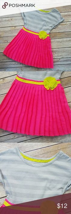 Like New! Cute Sz 24 Mos. Dress Like New Cute Sz 24 Mos. Dress by Xhilaration! Pleated neon pink skirt with cute gray & white striped top!   ♡Please look around my closet to see if there are any items that you would like to bundle! Please request to bundle before purchasing. ♡Smoke-free and pet-free home! ♡ All reasonable offers are welcomed! Xhilaration Dresses Casual