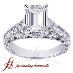 Fascinating Diamonds  1.50 Ct Emerald Cut Diamond Engagement Ring Pave VS IGI