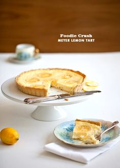 Meyer Lemon Custard Tart @Foodie Crush Heidi Larsen