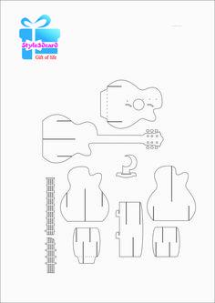 Guitar Pattern 3D Pop-Up Card 1