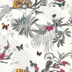 "Arthouse Mystical Forest White Multi 33.5' x 22"" Wildlife Wallpaper"