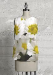 The white daisies - Sleeveless Top by Ruxandra Paul Flower Designs, Print Patterns, Daisy, Dress Up, United Kingdom, High Low, Prints, Scarves, Closure