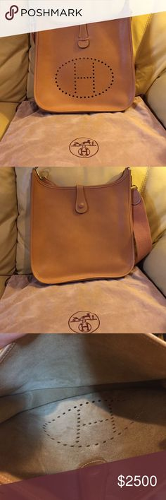 Hermes Brown Leather Evelyne Shoulder Bag. Like new, no scratches. Brown leather shoulder bag comes with a dust bag. If anyone out there is willing to buy this beautiful bag please message me. Hermes Bags Shoulder Bags