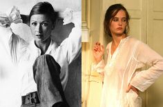 Marlène Jobert and Eva Green - A shared affection for slicked-back hair and a gleaming décolletage, showcased by an easy lace blouse.