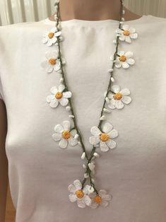 Bright White Bead Crochet Necklace and Bracelet Set