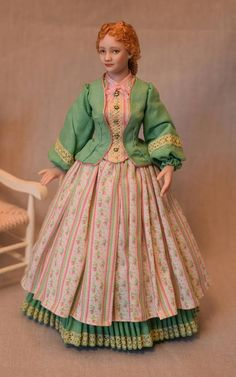 Miniature Porcelain Dollhouse Doll in 1:12 Scale-Victorian by Lilli's Littles