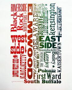 Buffalo Neighborhood Wood Type letterpress large Poster print