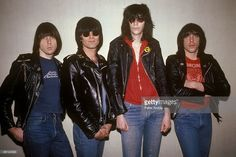 Photo of Dee Dee RAMONE and Joey RAMONE and Johnny RAMONE and RAMONES; L-R: Johnny Ramone, Dee Dee Ramone, Joey Ramone, Marky Ramone