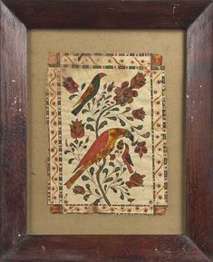"""Pennsylvania watercolor and ink fraktur drawing of birds, early 19th c., 6 3/4"""" x 5""""...."""