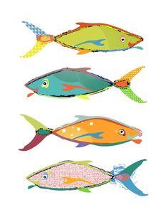 Ocean Bathroom Decor, Fish Bathroom, Kids Bathroom Art, Abstract Art For Kids, Abstract Wall Art, Art Kids, Tropical Fish, Colorful Fish, Paper Fish