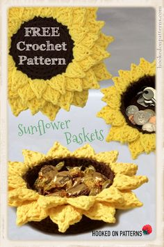 Patterns Basket Free Sunflower Basket Crochet Pattern by Hooked On Patterns. Brighten up your home with my new free basket crochet pattern! It's a fun and easy crochet pattern, great for beginners. DIY Crafts for summer and home. Crochet Pattern Free, Crochet Basket Pattern, Easy Crochet Patterns, Crochet Baskets, Crochet Bowl, Quick Crochet, Crochet Hooks, Crochet Geek, Beginner Crochet