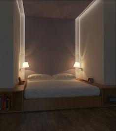 Картинки по запросу кровать в нише на подиуме