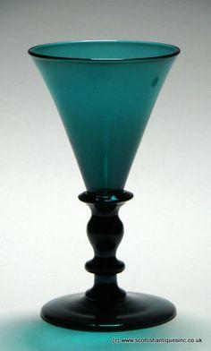Rare Bristol Green Wine Glass c1820 Multi knopped green stem wine glasses are very rare survivors