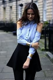 STREET STYLE INSPIRATON BLUE CHAMBRAY BUTTON DOWN SHIRT COLLARED CUT OUT
