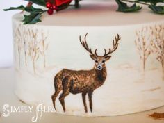 Painted Stag with poinsettia and holly - Cake by Alpa Boll - Simply Alpa