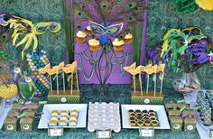 Dessert Table at a Mardi Gras Party #mardigras #partytable