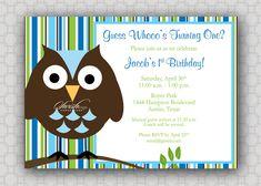 First Birthday - Owl Birthday Invitation - Look Whoo's Turning One - Stripes - boy- printable invitations. $15.00, via Etsy.