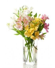 Avas Flowers' Spring Mornings bouquet is artfully arranged with pastel colored alstroemeria set in a tall square vase. A sweet reminder of a new season. The simply designed bouquet allows the beauty of the flowers to show through.