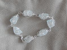sea glass bracelett - wrapped in non-tarnish silver plated wire Tarnished Silver, Hand Wrap, Sea Glass Jewelry, Frost, Silver Plate, Wire, Gems, Jewels, Beach