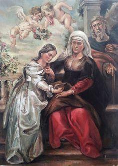 Martín de Soto (Arte): Pintura LA EDUCACIÓN DE LA VIRGEN CON SAN JOAQUÍN Y SANTA ANA Acrílico sobre tabla (116 x 89 cm.) 2012