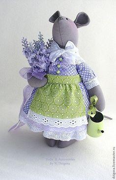 Fabric doll mouse / Игрушки животные, ручной работы. Заказать Мышка Лавандушка текстильная интерьерная игрушка. Дзигора Наталья. Ярмарка Мастеров. Игрушка мышка