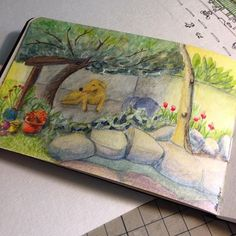 There he is My little dog enjoying the shadow  dwgdaily watercolor colors dog colorpencil